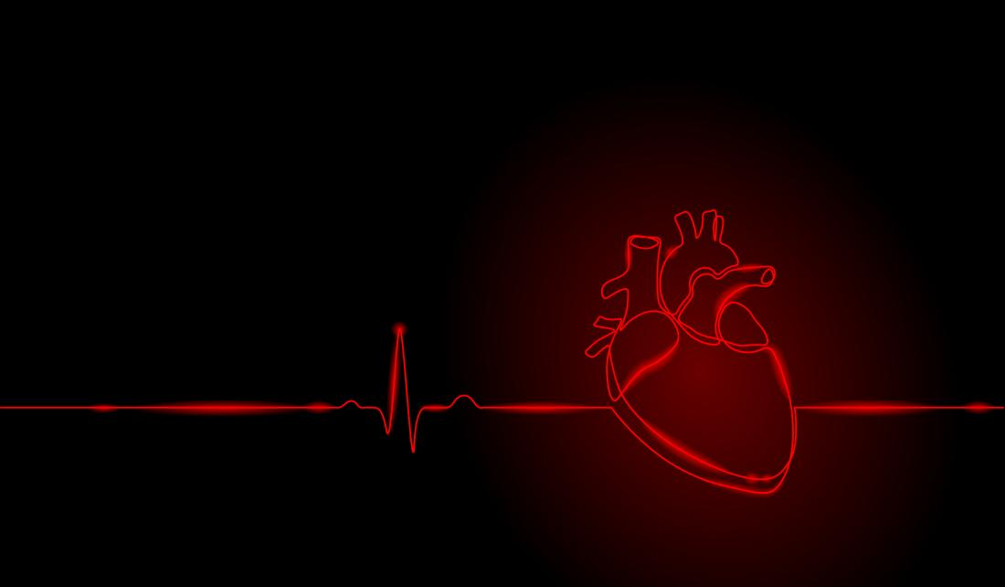 illustration of a heart on black background