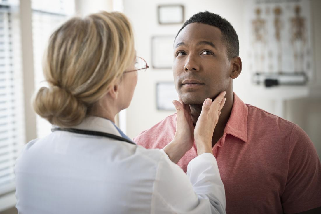Doctor checking neck and throat of patient for hypoechoic thyroid nodule.