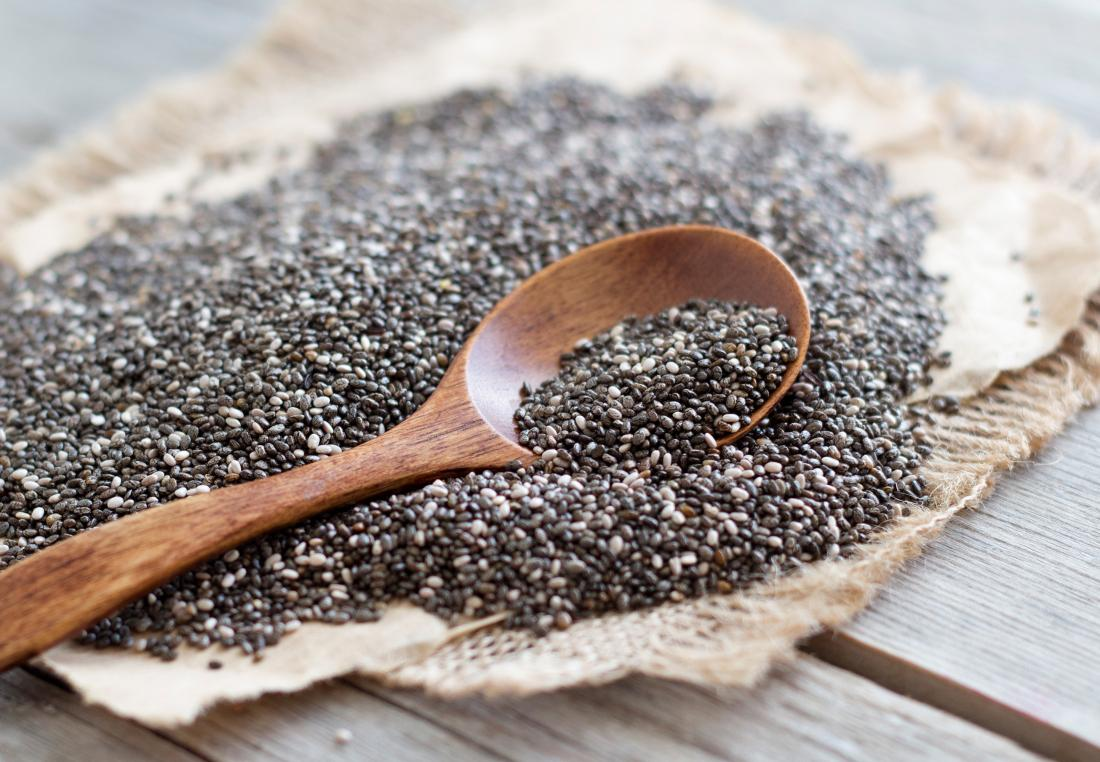 chia seeds and a spoon which contain omega 3 fatty acids