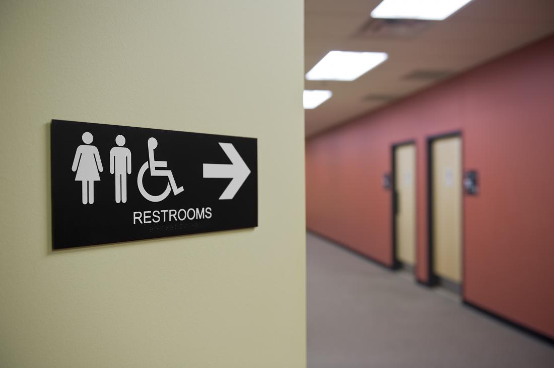 Restrooms sign for public toilets