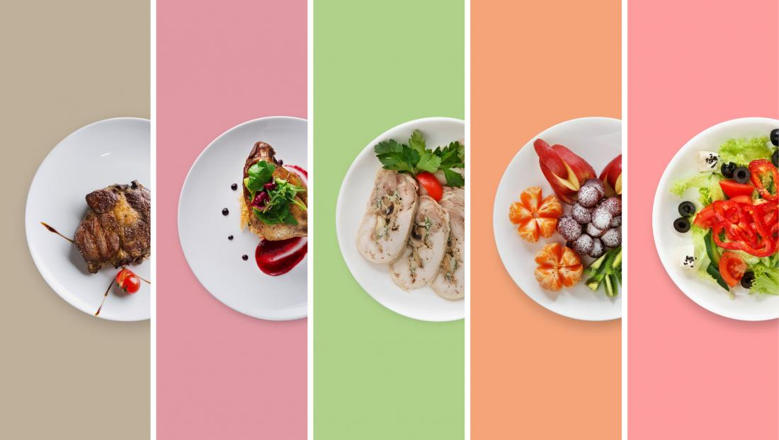 illustration of different plates of food