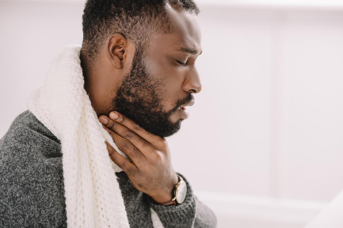 Man with a sore throat. Possible causes of a chronic sore throat are smoking, air pollution, or allergic reactions.