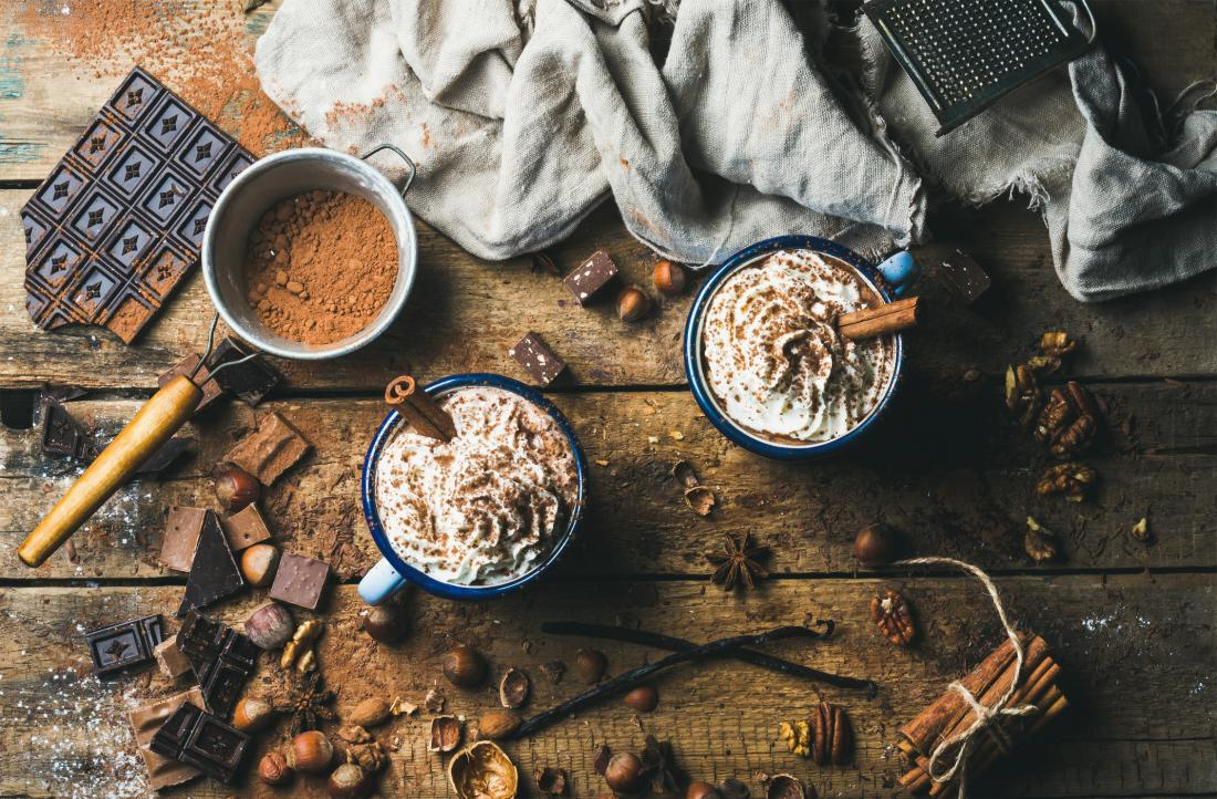 hot chocolate and other foods with cocoa