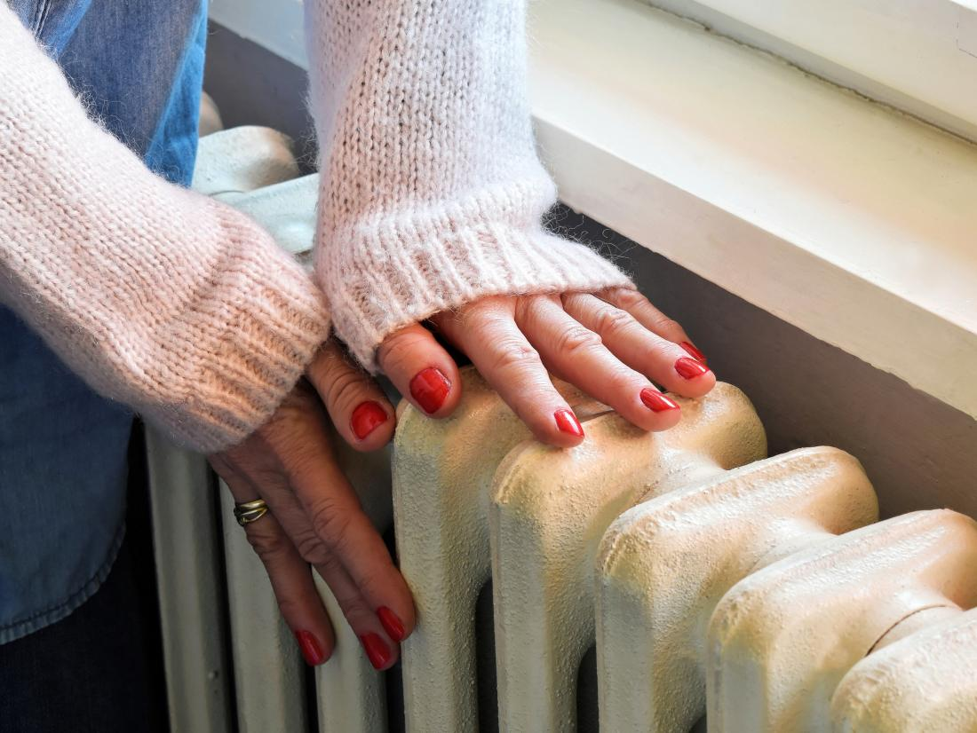 Cold fingers on a radiator.