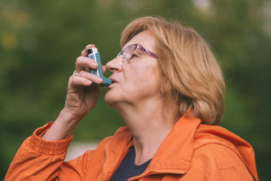A woman using a Bronchodilators for breathing treatment.