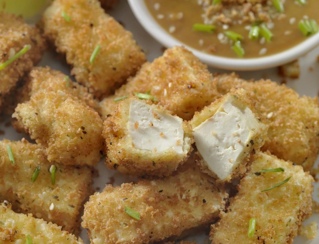 Breaded tofu which is a popular meat substitute