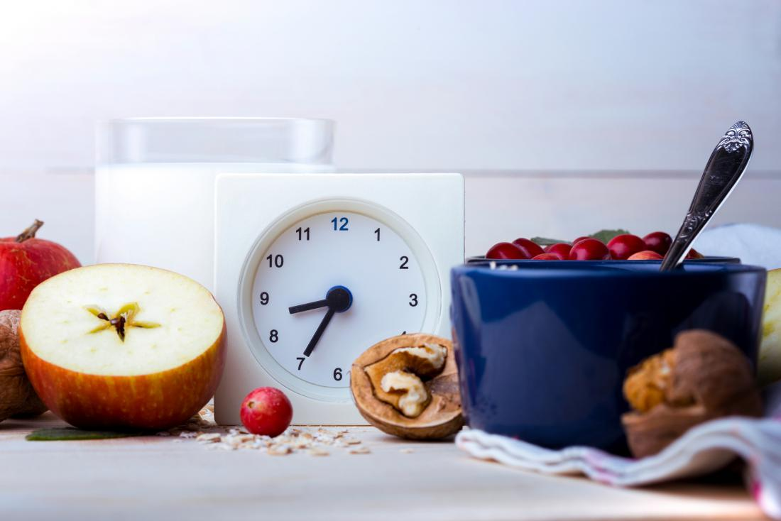 clock surrounded by fruit and nuts
