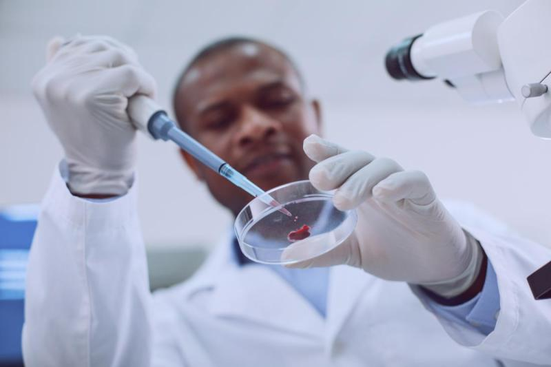 researcher analyzing a drop of blood in a petri dish
