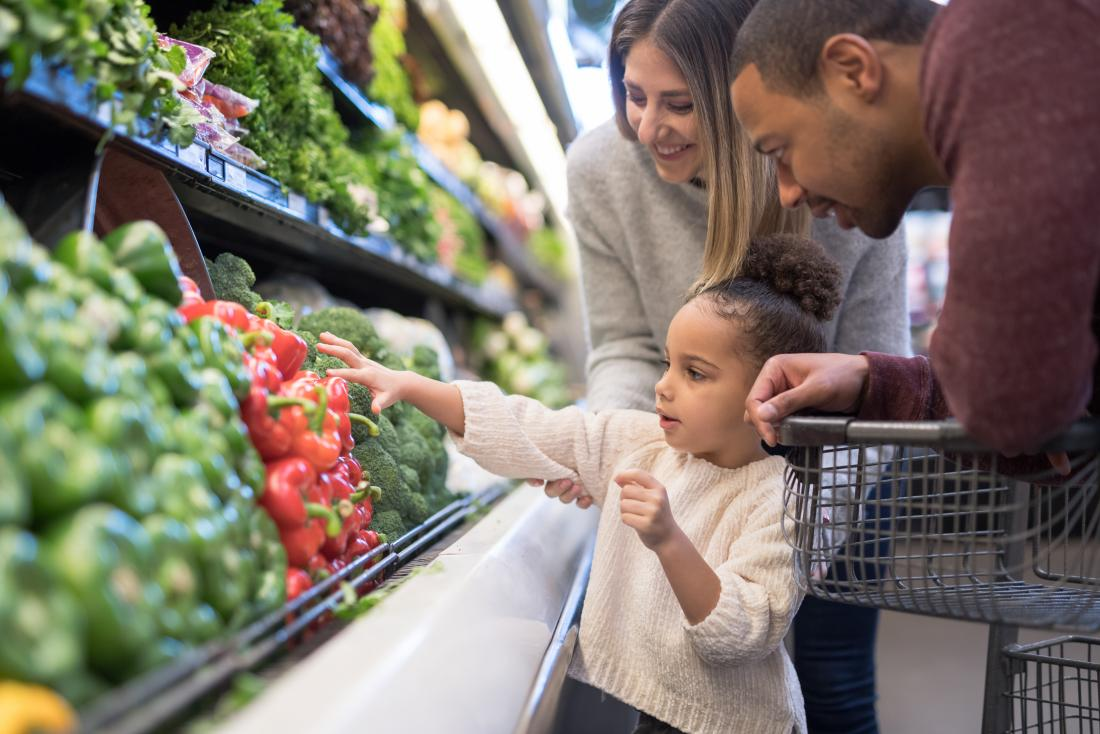 a family go shopping for vegetables because they need to fulfil their 6 Essential nutrients