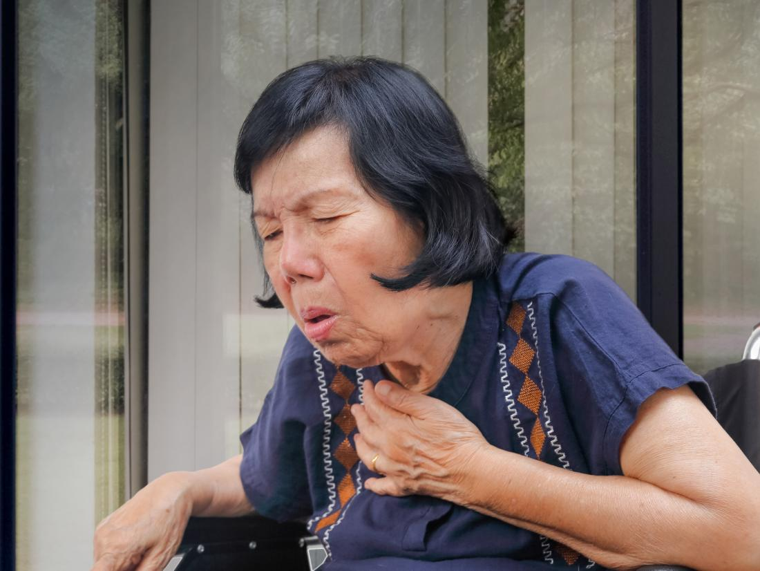 a woman with Food stuck in her throat