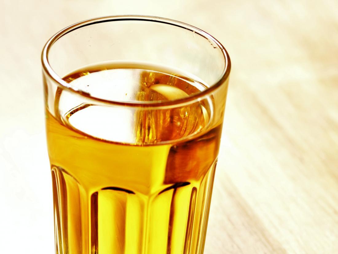 a glass of urine that is not drinking