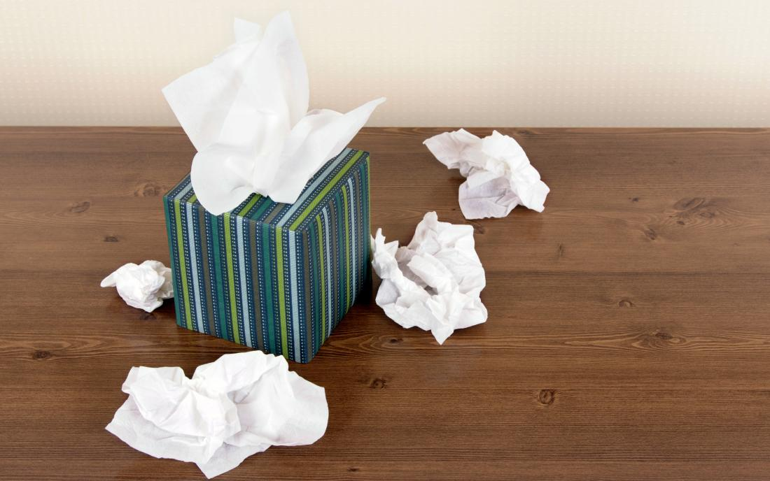 a box of tissues that may hav been used with someone with Flu rash