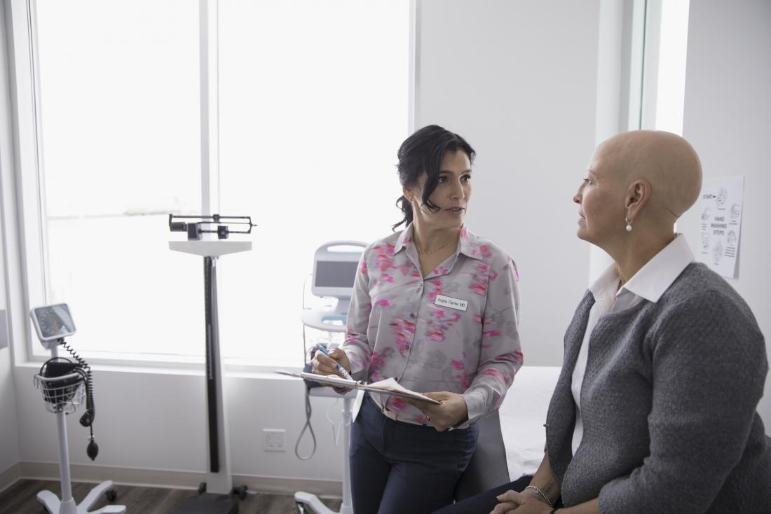 breast cancer patient speaking to oncologist