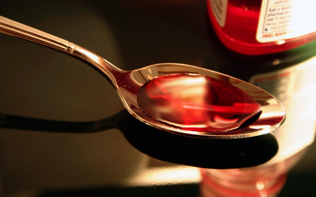 cold medicine on a spoon