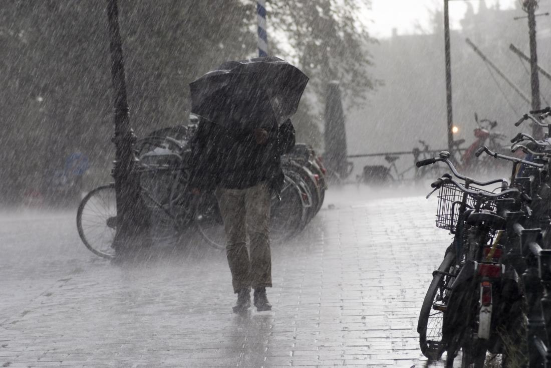 Man in a rain storm