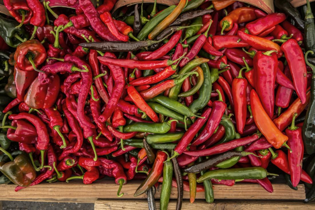 Selection of chili peppers