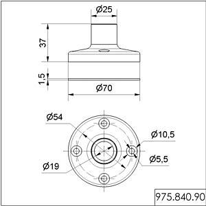 WERMA 975 840 90: Fuß für Rohrmontage, Kunststoff bei