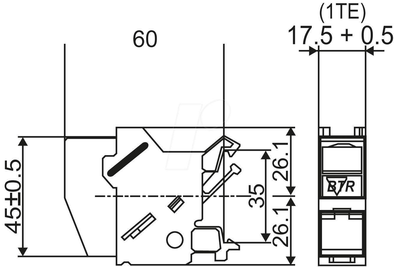 BTR 1309426003-E: 1x RJ45 socket IP20 Cat.6A, rail