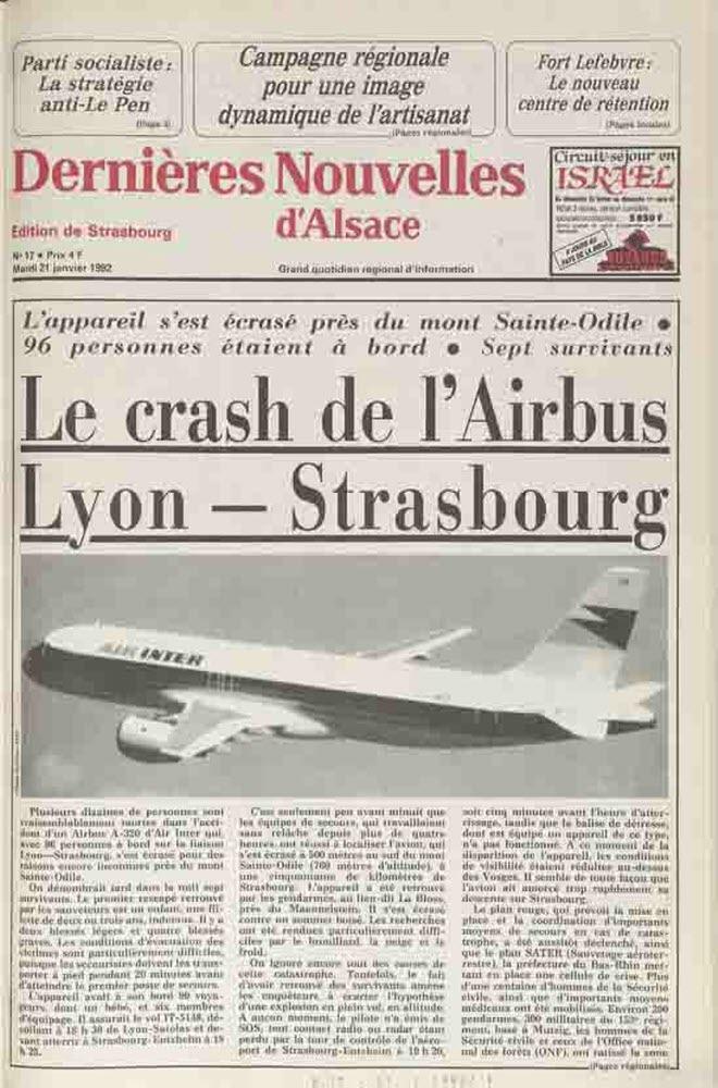 Crash Du Mont St Odile : crash, odile, Survivants, Lyon-Strasbourg., L'épave, L'Airbus, Retrouvée, Près, Sainte-Odile
