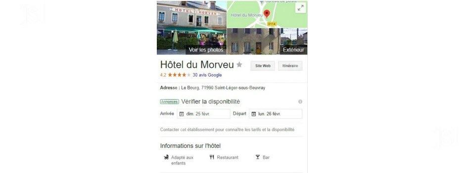 """Un couac de Google rebaptise l' Hôteldu Morvan en """"Hôtel du Morveu"""""""