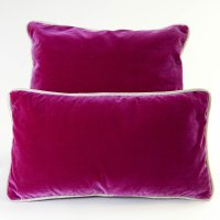 Silk Velvet Pillow, Fuschia w/ Navy/Sand from wolfhomeny ...