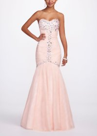 Strapless Trumpet Prom Dress with Cut from David's Bridal