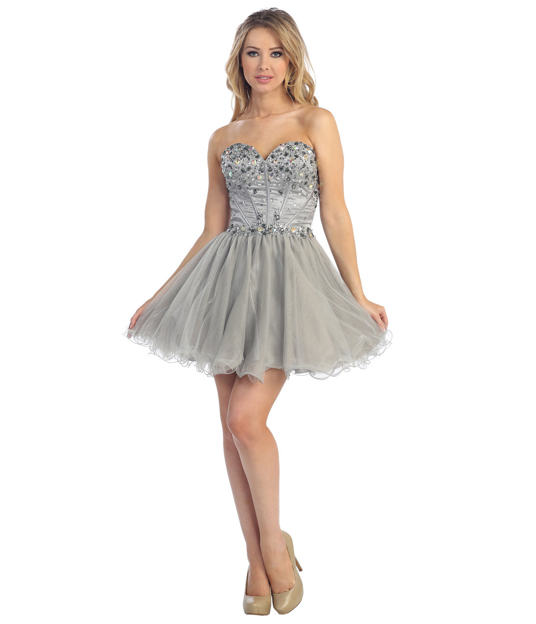 2013 Prom  Silver Chiffon Corset Short from Unique Vintage