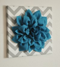 Wall Flower -Turquoise Dahlia on Gray and from bedbuggs on ...
