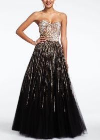 Strapless Sequin Embroidered Prom Dress