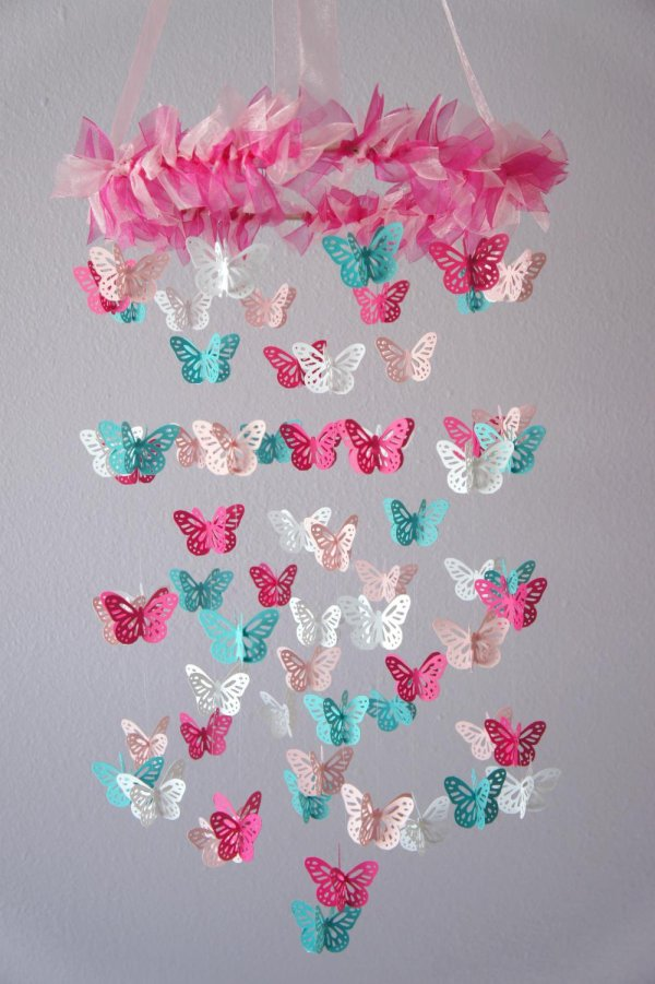 Nursery Mobile - Hot Pink & Aqua Lovebuglullabies