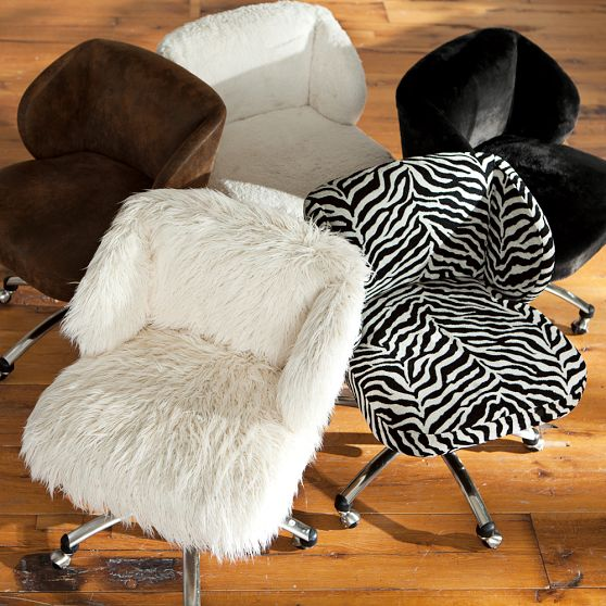 Ivory Sherpa Wingback Desk Chair from PBteen  iphone stuff