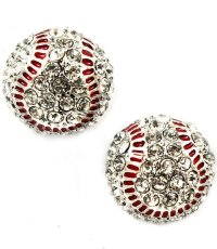 Baseball Earrings Clear Crystals Red from Bonanza   My ...
