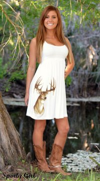 Country Girl Cute White Deer Dress from Sporty Girl Apparel