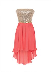 Gold: Coral And Gold Bridesmaid Dress
