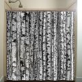 Trunk forest white birch trees shower curtain bathroom decor fabric