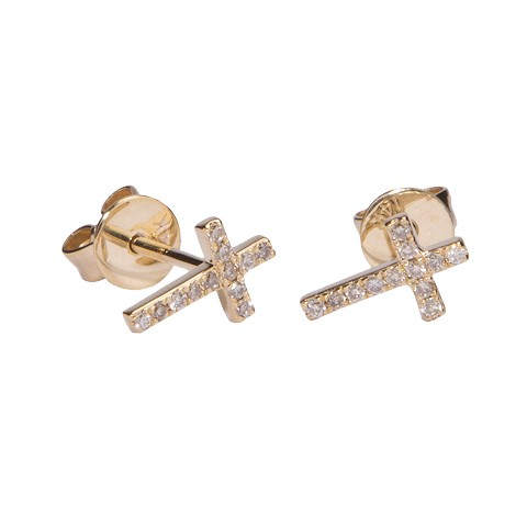 Small Gold & Diamond Cross Stud Earrings from sydneyevan.com