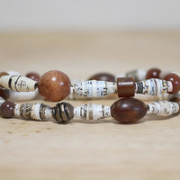 Brown and White Recycled Book Bead Paper Bracelet Set Made With Recycled Book Pages