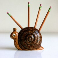 Vintage Ceramic Snail Pencil Holder by from WiseApple on Etsy
