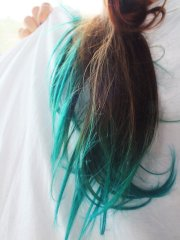 teal dip dye hair extensions
