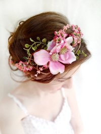 pink flower dogwood headpiece, wedding from thehoneycomb
