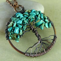 Tree Of Life Pendant Wire Wrapped Pendant Necklace Turquoise Copper Necklace Wire Work