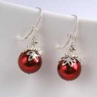 Red Christmas Earrings, Christmas from merryalchemy on Etsy