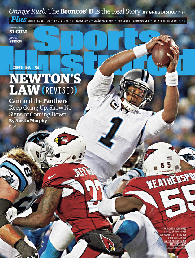 Cam Newton on Sports Illustrated cover before Super Bowl