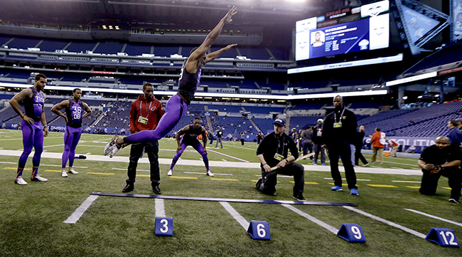 A relative unknown entering last year's combine, Connecticut's Byron Jones turned heads with a world-record broad jump of 12 feet, 3 inches. The Dallas Cowboys took him 27th overall, and Jones was one of 2015's top rookies.