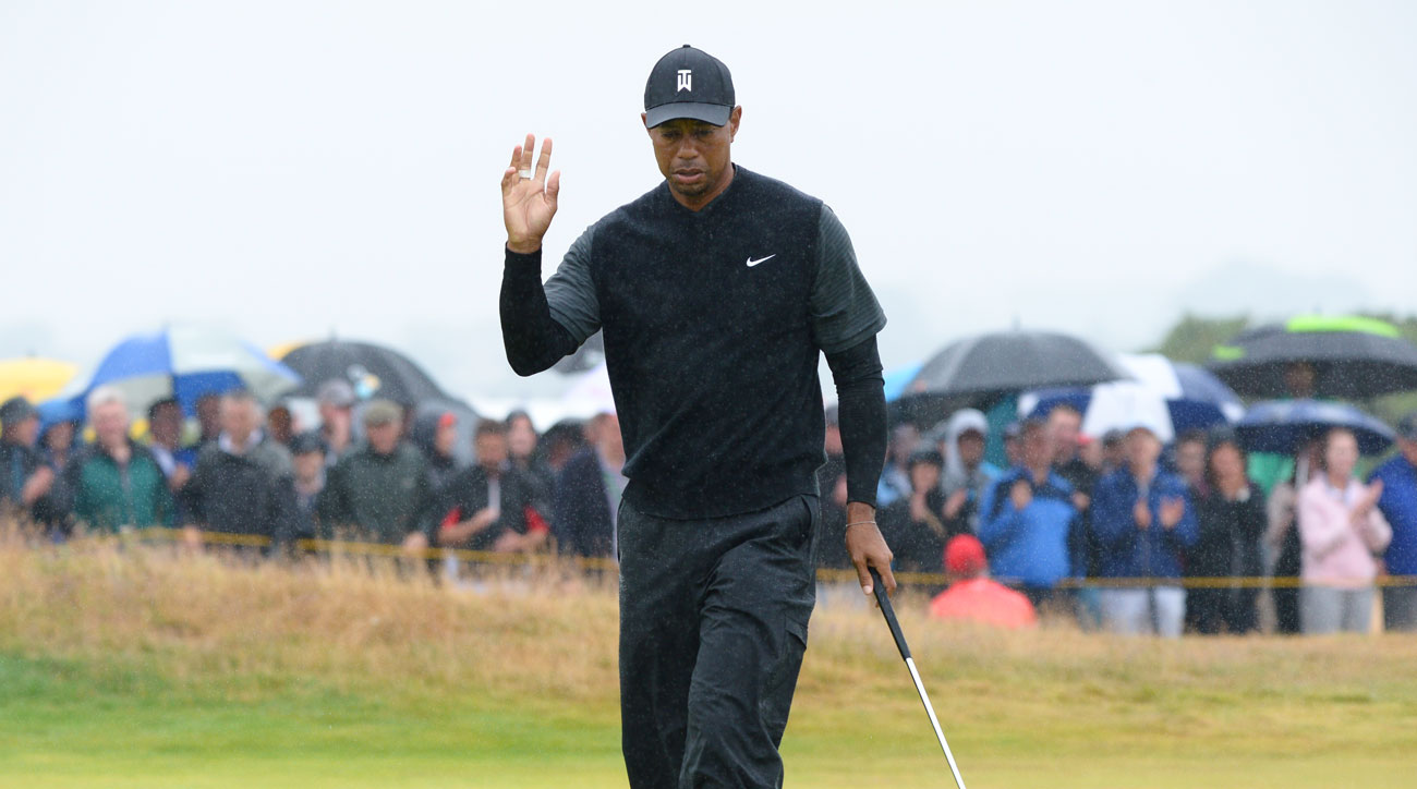 tiger woods british open shot at crowd