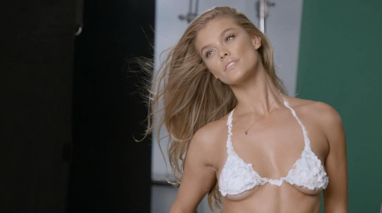 Sexy Super Model Nina Agdal Wears A Shaving Cream Bikini