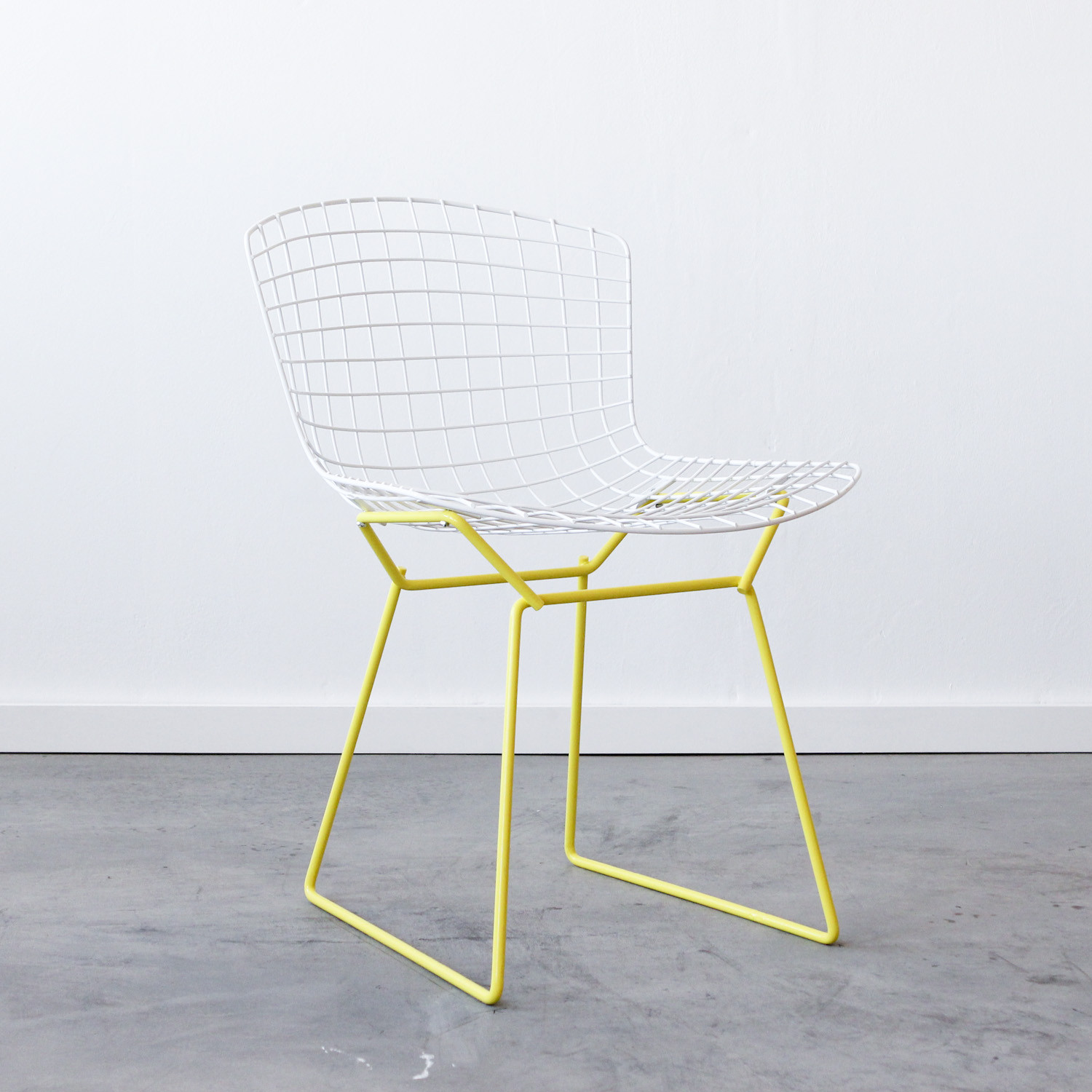 white bertoia side chair chiavari chairs wedding hire knoll 43 yellow cast and crew