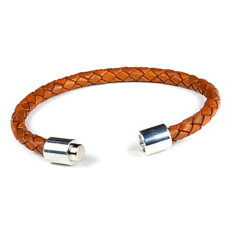 Leather Bracelet Aluminum Clasp Saddle 6mm Small