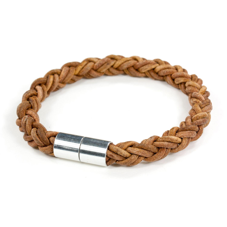 Leather Bracelet Aluminum Clasp Antique Light Brown