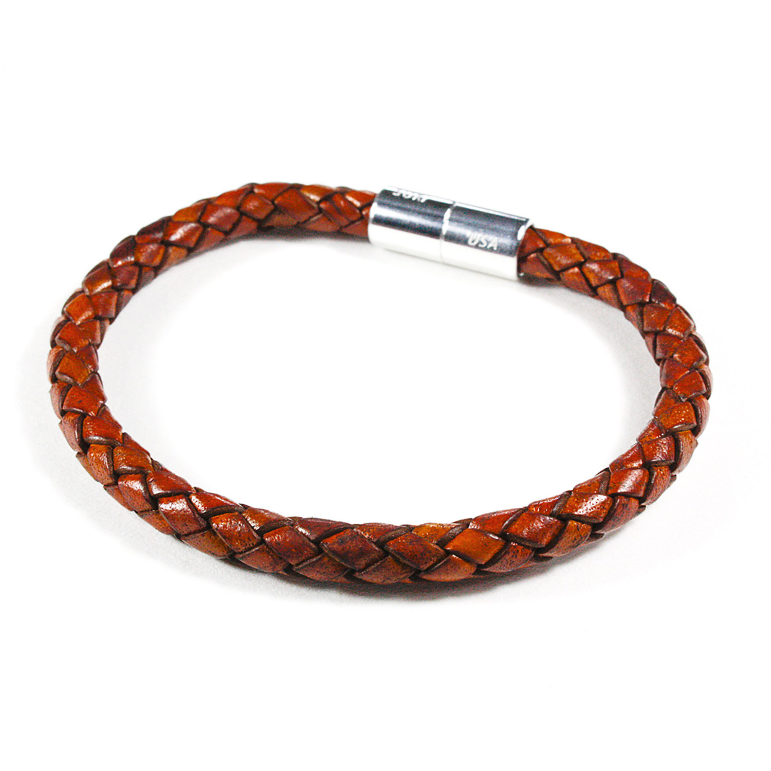 Pro Leather Magnet Therapy Bracelet Medium Brown 6mm